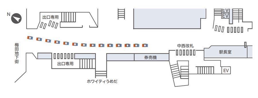 東梅田ネットワークビジョン掲出位置図