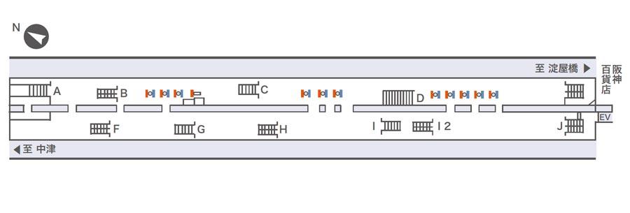 梅田ネットワークビジョン掲出位置図