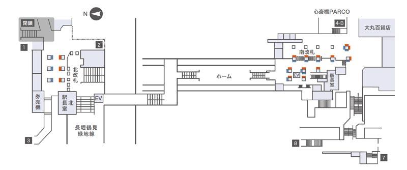 心斎橋コンコースビジョン掲出位置図
