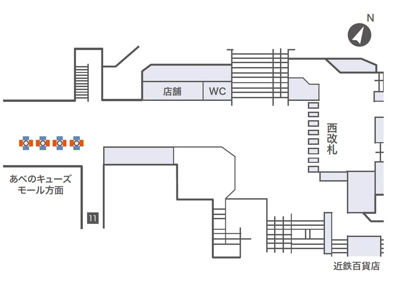 天王寺コンコースビジョン掲出位置図
