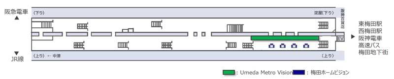 梅田メトロビジョン掲出位置図