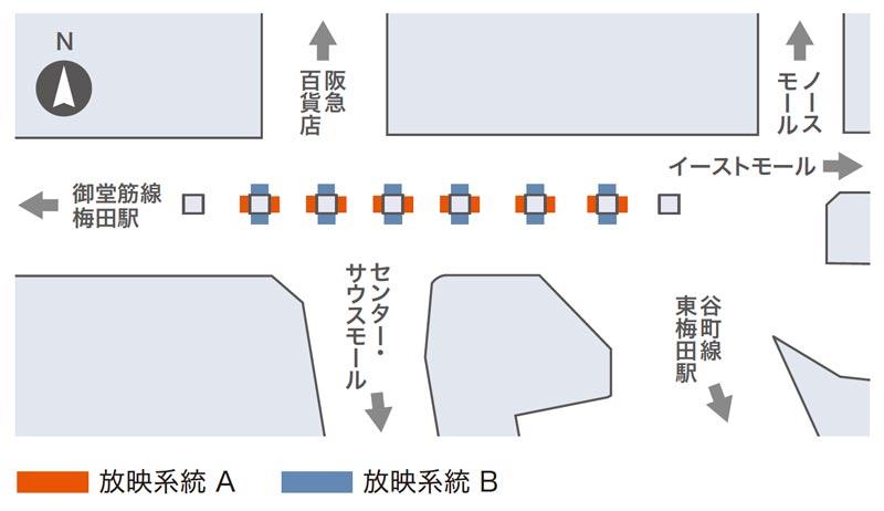 ホワイティうめだデジタル6掲出位置図