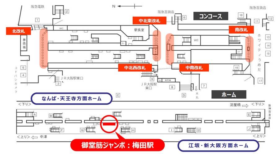 御堂筋ジャンボ掲出位置図・梅田駅