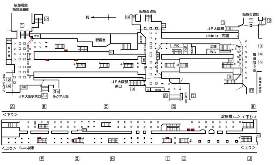 梅田・なんばセット掲出位置図・梅田駅