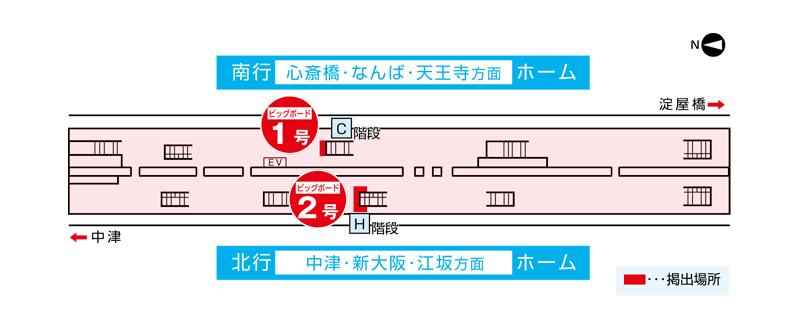 梅田ビッグボード掲出位置図