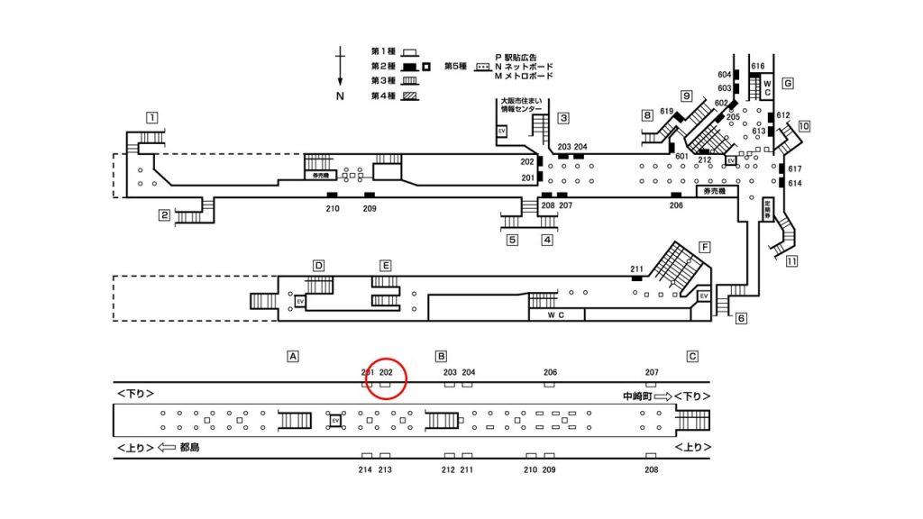 天神橋筋六丁目駅構内図1-202