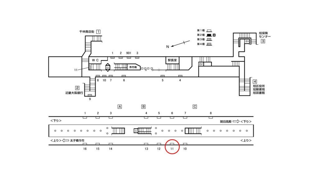千林大宮駅構内図1-11
