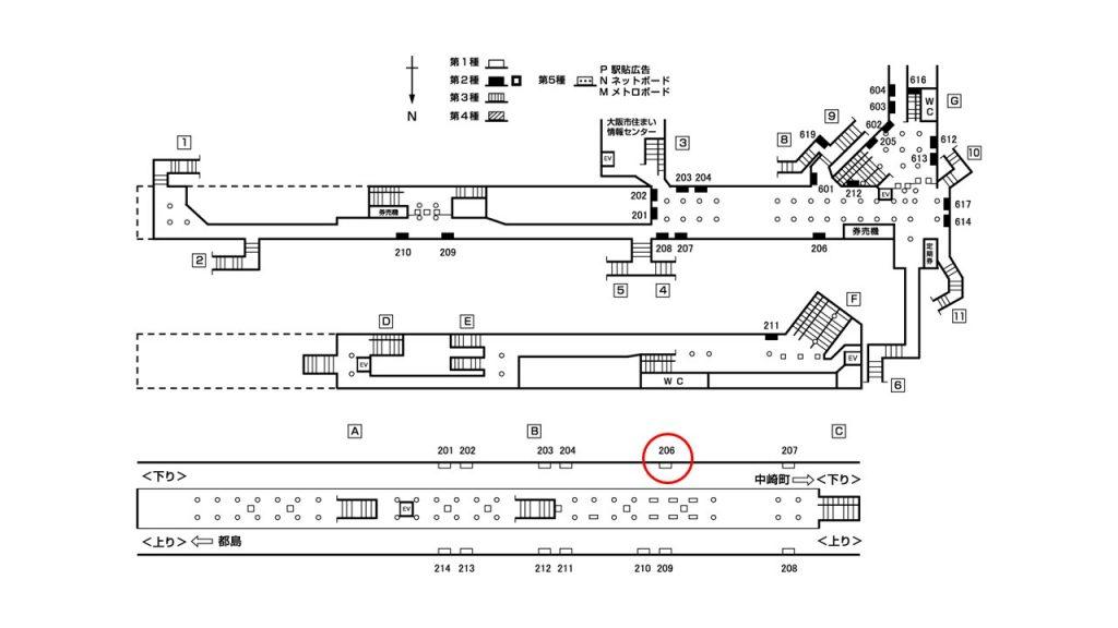 天神橋筋六丁目駅構内図1-206