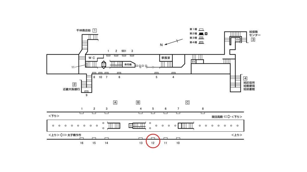 千林大宮駅構内図1-12