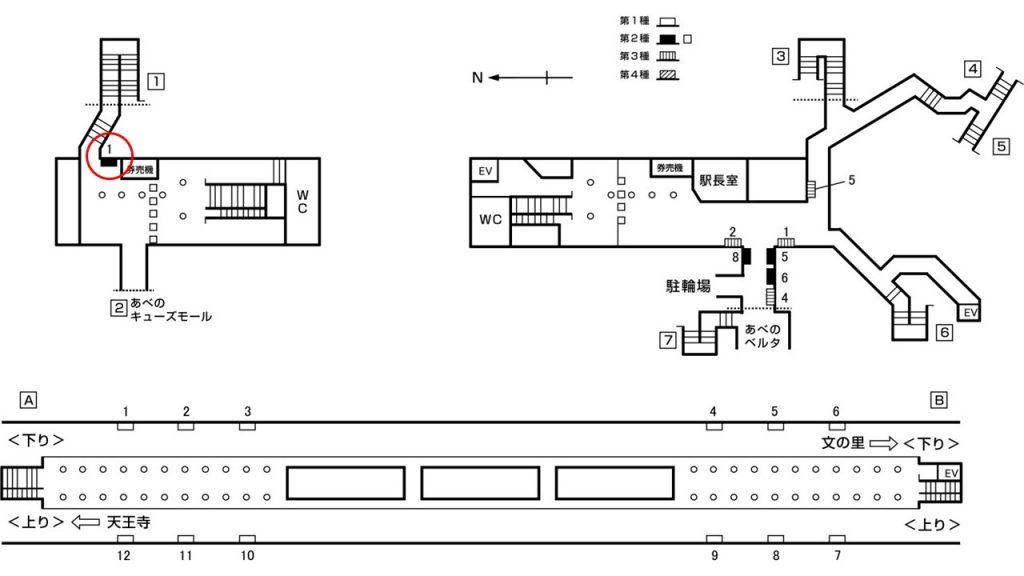 阿倍野駅構内図2-1