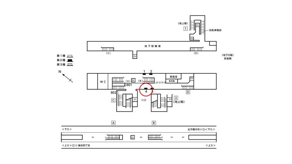 だいどう豊里駅構内図2-4