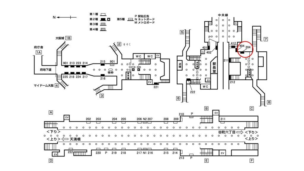 谷町四丁目駅構内図2-204