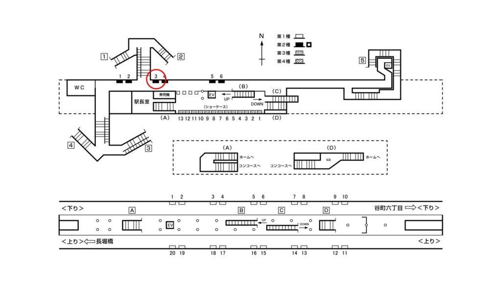 松屋町駅構内図2-3