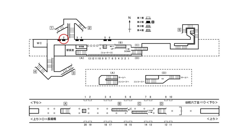 松屋町駅構内図2-2
